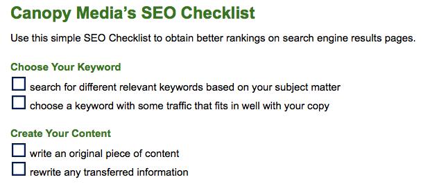 Canopy Media's SEO Checklist