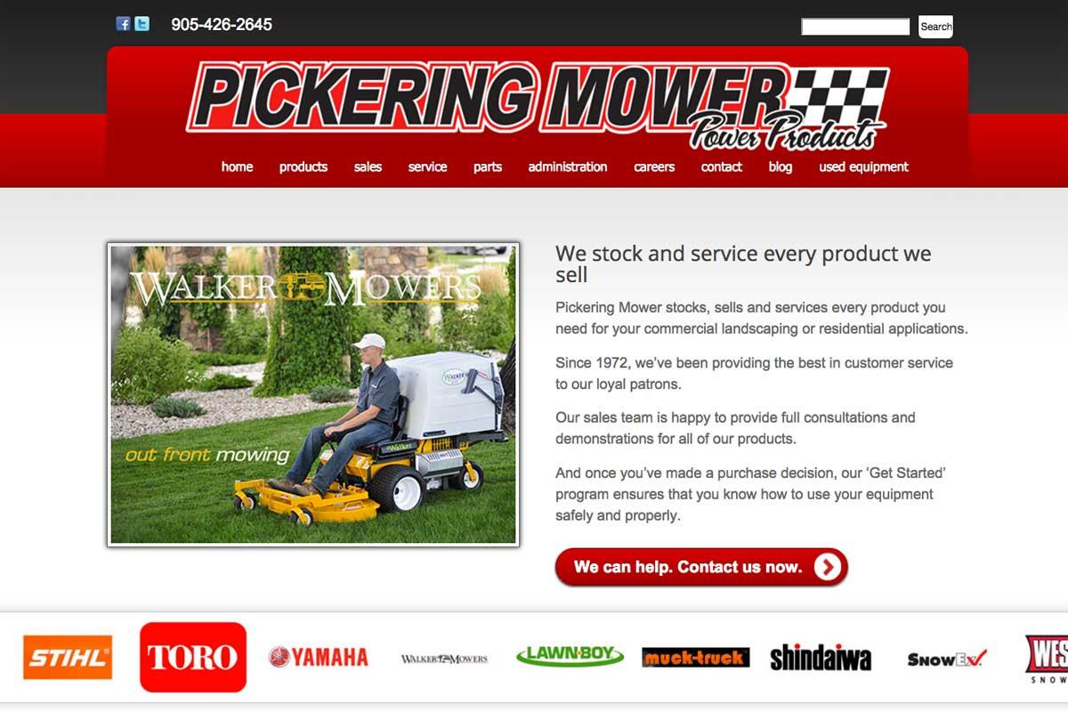 pickering-mower-website-screenshot