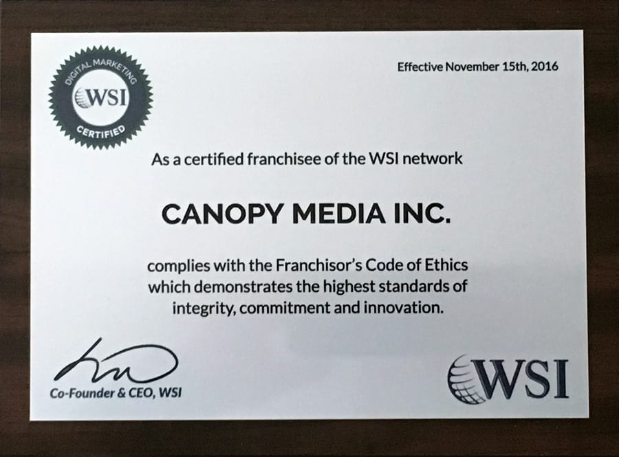 digital marketing certified wsi canopy media