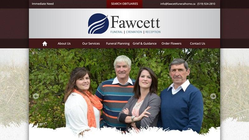 Screenshot of the Fawcett Funeral Home website