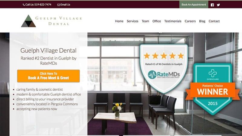 Screenshot of the Guelph Village Dental website