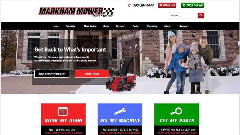 Screenshot of the Markham Mower website