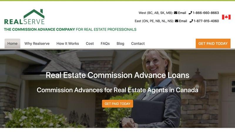 Screenshot of the RealServe website