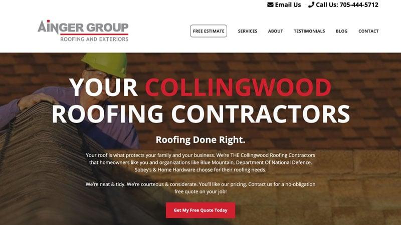 screenshot of Ainger Roofing's website