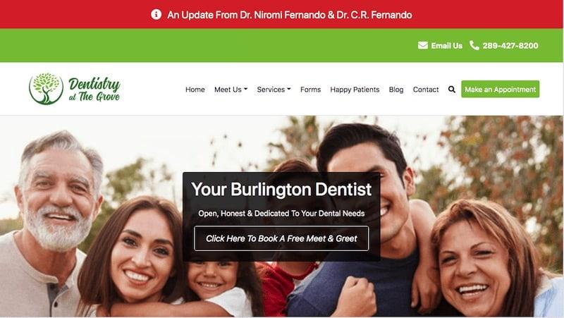 screenshot of burlington dentist website