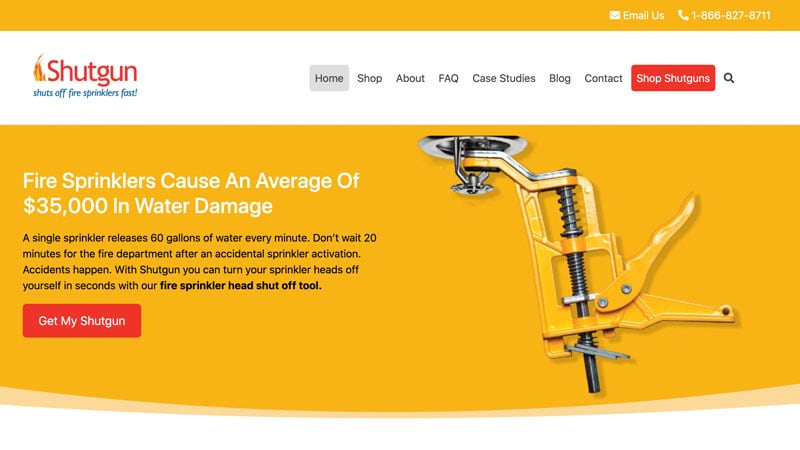 Screenshot of the Shutgun website