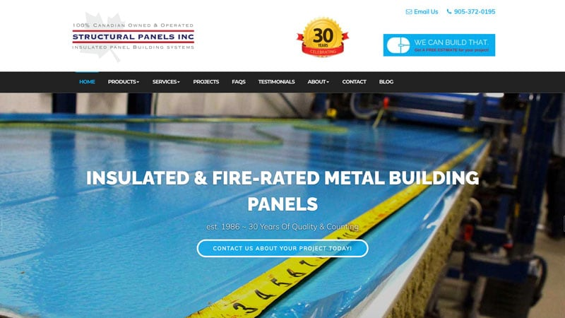 Screenshot of the Structural Panels website