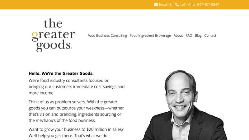 Screenshot of The Greater Goods website