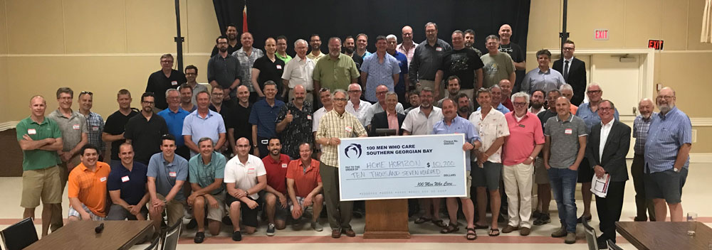 100 Men Who Care giving check to people in need